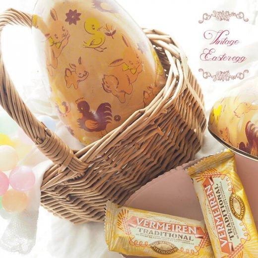 イギリス 1950年代 アンティーク イースターエッグ【C】ピーチ・ティン缶 復活祭うさぎ ひよこ【画像8】