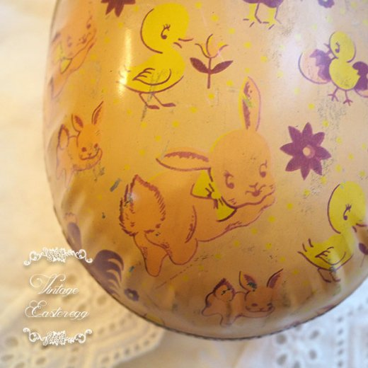 イギリス 1950年代 アンティーク イースターエッグ【B】ピーチ・ティン缶 復活祭うさぎ ひよこ【画像2】