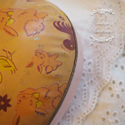 イギリス 1950年代 アンティーク イースターエッグ【B】ピーチ・ティン缶 復活祭うさぎ ひよこ【画像3】