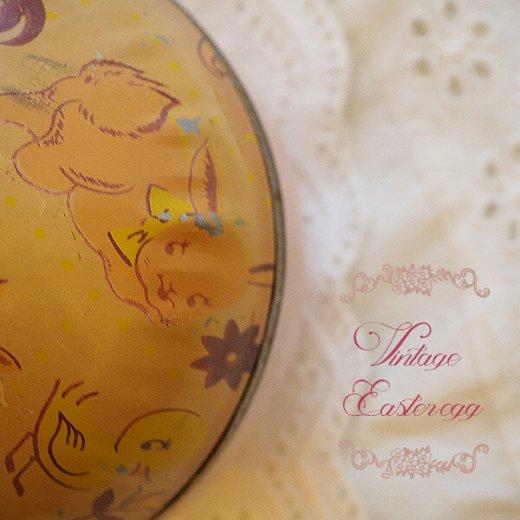 イギリス 1950年代 アンティーク イースターエッグ【A】ピーチ・ティン缶 復活祭うさぎ ひよこ【画像2】
