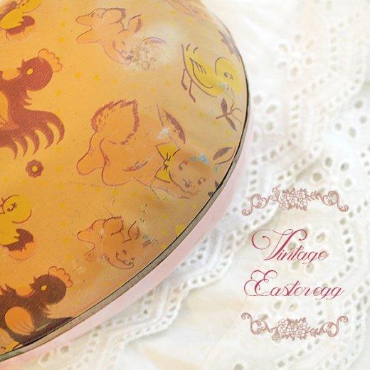 イギリス 1950年代 アンティーク イースターエッグ【A】ピーチ・ティン缶 復活祭うさぎ ひよこ【画像3】