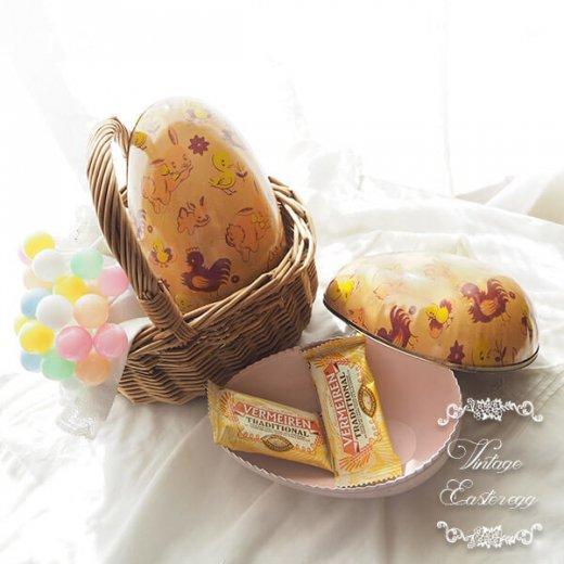イギリス 1950年代 アンティーク イースターエッグ【A】ピーチ・ティン缶 復活祭うさぎ ひよこ【画像7】