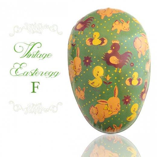 イギリス 1950年代 アンティーク イースターエッグ【F】グリーン・ティン缶 復活祭うさぎ ひよこ