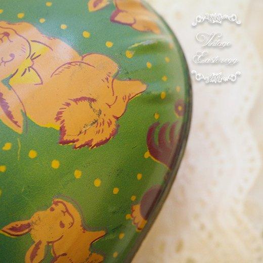 イギリス 1950年代 アンティーク イースターエッグ【F】グリーン・ティン缶 復活祭うさぎ ひよこ【画像2】