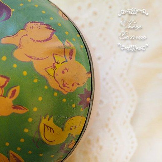 イギリス 1950年代 アンティーク イースターエッグ【F】グリーン・ティン缶 復活祭うさぎ ひよこ【画像3】