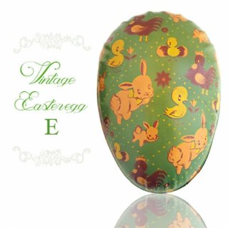 イギリス 1950年代 アンティーク イースターエッグ【E】グリーン・ティン缶 復活祭うさぎ ひよこ