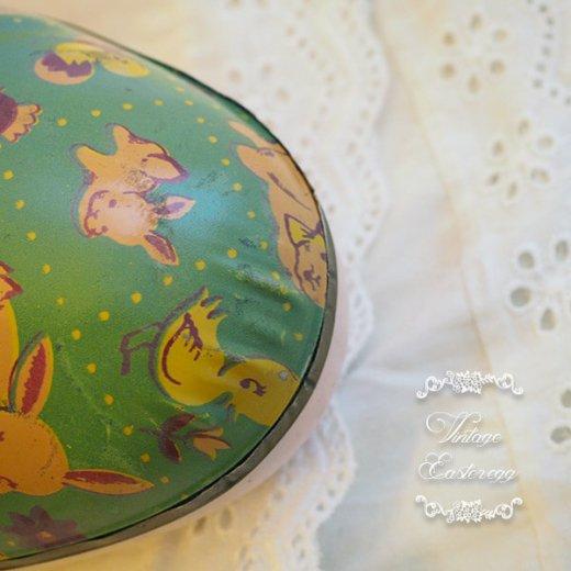 イギリス 1950年代 アンティーク イースターエッグ【D】グリーン・ティン缶 復活祭うさぎ ひよこ【画像3】