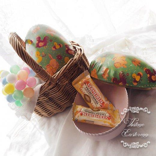 イギリス 1950年代 アンティーク イースターエッグ【D】グリーン・ティン缶 復活祭うさぎ ひよこ【画像6】