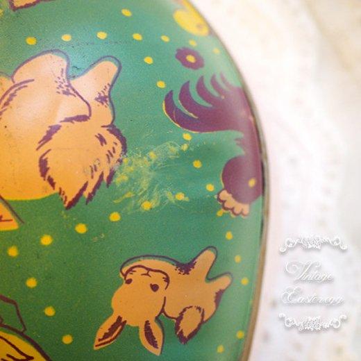 イギリス 1950年代 アンティーク イースターエッグ【C】グリーン・ティン缶 復活祭うさぎ ひよこ【画像2】