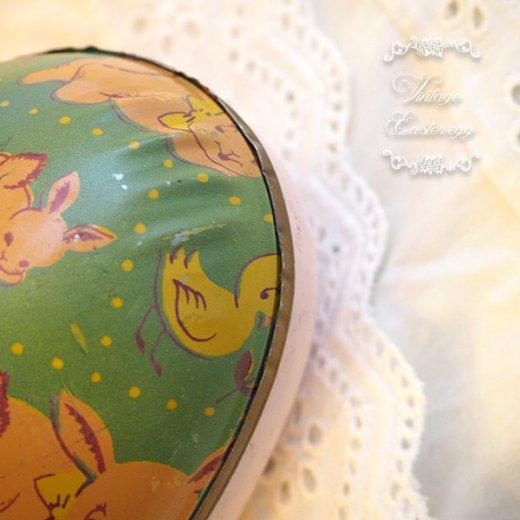 イギリス 1950年代 アンティーク イースターエッグ【C】グリーン・ティン缶 復活祭うさぎ ひよこ【画像3】