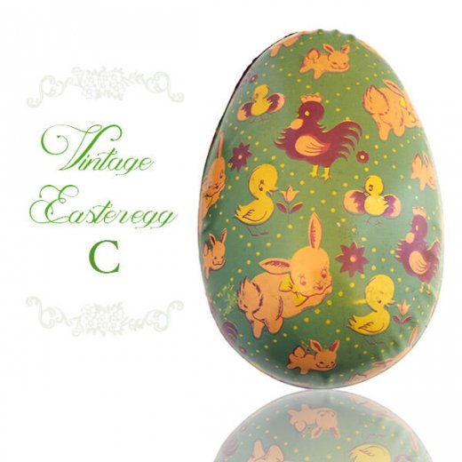 イギリス 1950年代 アンティーク イースターエッグ【C】グリーン・ティン缶 復活祭うさぎ ひよこ【画像4】