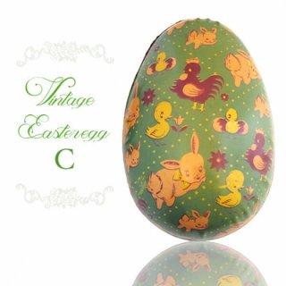イギリス 1950年代 アンティーク イースターエッグ【C】グリーン・ティン缶 復活祭うさぎ ひよこ