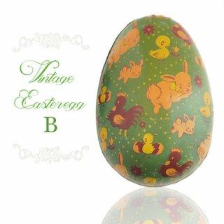 イギリス 1950年代 アンティーク イースターエッグ【B】グリーン・ティン缶 復活祭うさぎ ひよこ