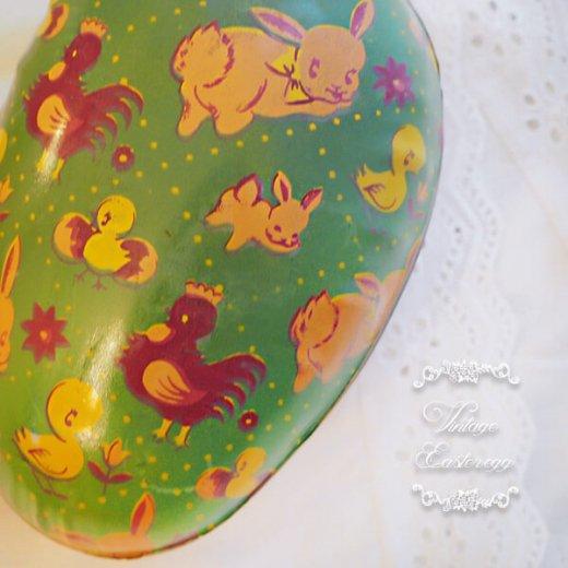 イギリス 1950年代 アンティーク イースターエッグ【A】グリーン・ティン缶 復活祭うさぎ ひよこ【画像2】