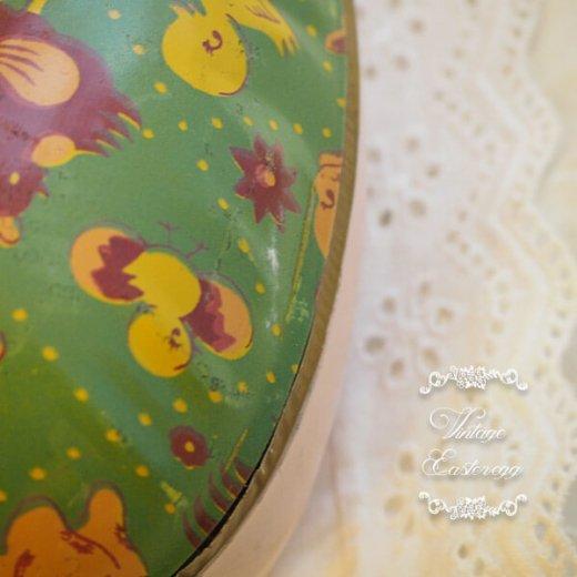 イギリス 1950年代 アンティーク イースターエッグ【A】グリーン・ティン缶 復活祭うさぎ ひよこ【画像3】