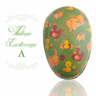 イギリス 1950年代 アンティーク イースターエッグ【A】グリーン・ティン缶 復活祭うさぎ ひよこ