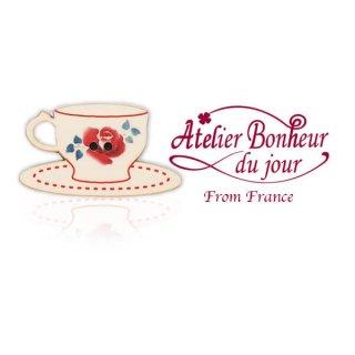 フランス輸入ボタン アトリエ・ボヌール・ドゥ・ジュール【ディゴワンカップ・ソーサー red】
