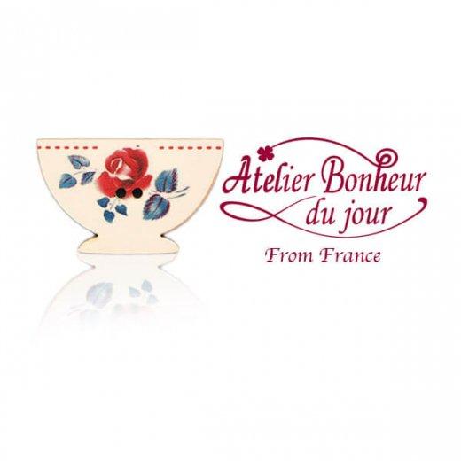 フランス輸入ボタン アトリエ・ボヌール・ドゥ・ジュール【ディゴワンカフェオレ・ボウル rose red】