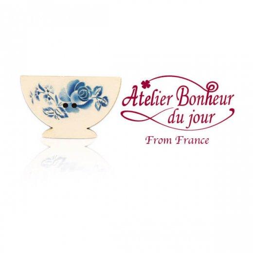 フランス輸入ボタン アトリエ・ボヌール・ドゥ・ジュール【ディゴワンカフェオレ・ボウル blue】