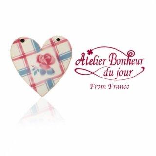 バラ ローズ 雑貨 フランス輸入ボタン アトリエ・ボヌール・ドゥ・ジュール【ディゴワン ハート check】