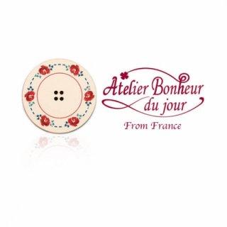 輸入ボタン アトリエ・ボヌール フランス輸入ボタン アトリエ・ボヌール・ドゥ・ジュール【ディゴワン ソーサー  rose binding】