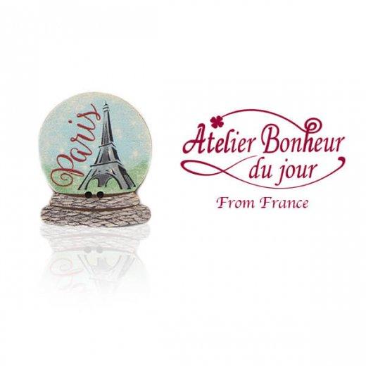 フランス輸入ボタン アトリエ・ボヌール・ドゥ・ジュール【エッフェル塔 snowdome】