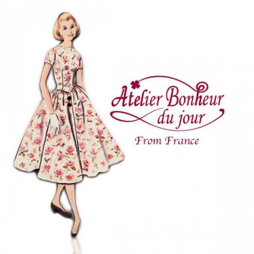 フランス輸入ボタン アトリエ・ボヌール・ドゥ・ジュール【バラのワンピース】