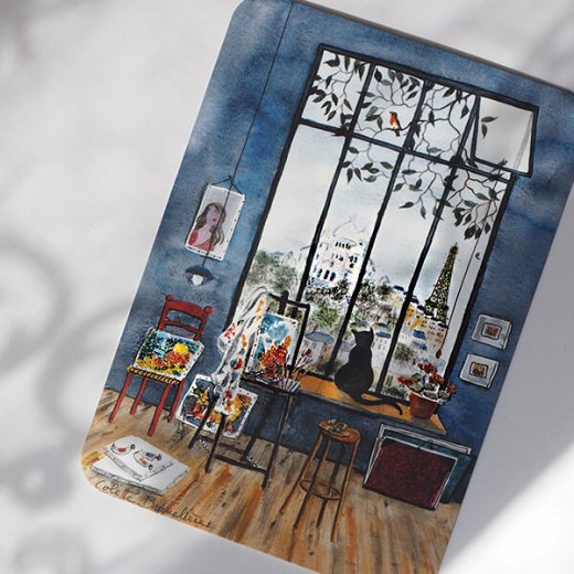 エッフェル塔 ポストカード (窓辺のネコ)キラキラ加工付き【画像5】