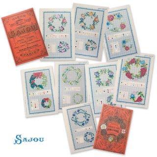 フランス SAJOU 刺繍図案 912【フラワーリース】