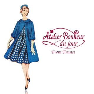 フランス輸入ボタン アトリエ・ボヌール・ドゥ・ジュール【ブルー チェックワンピース】