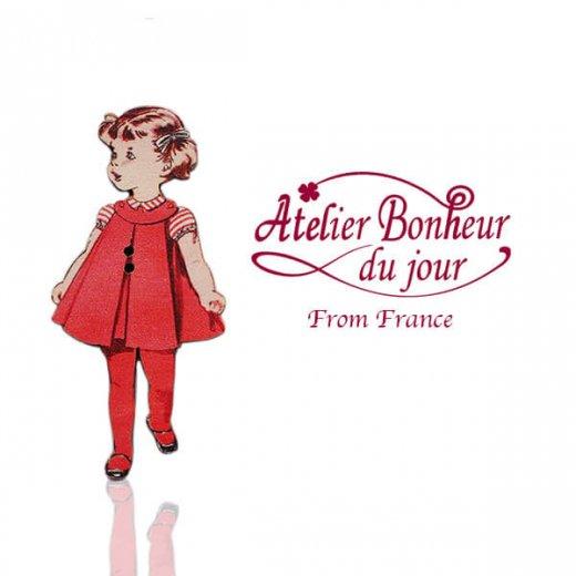 フランス輸入ボタン アトリエ・ボヌール・ドゥ・ジュール【赤い服の女の子】