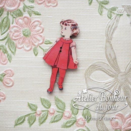 フランス輸入ボタン アトリエ・ボヌール・ドゥ・ジュール【赤い服の女の子】【画像5】