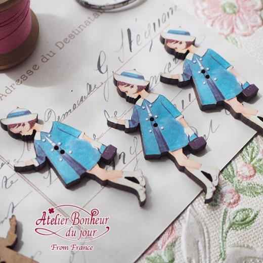 フランス輸入ボタン アトリエ・ボヌール・ドゥ・ジュール【青い服の女の子】【画像4】