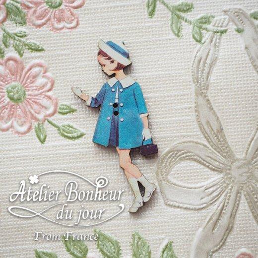 フランス輸入ボタン アトリエ・ボヌール・ドゥ・ジュール【青い服の女の子】【画像5】
