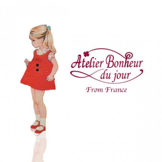 フランス輸入ボタン アトリエ・ボヌール・ドゥ・ジュール【赤いショートワンピースの女の子】