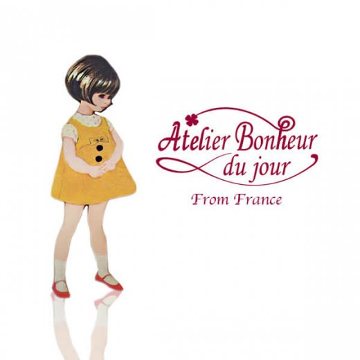 フランス輸入ボタン アトリエ・ボヌール・ドゥ・ジュール【黄色いショートワンピースの女の子】