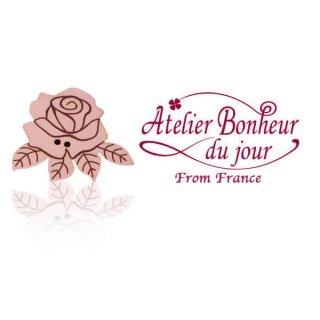 フランス輸入ボタン アトリエ・ボヌール・ドゥ・ジュール【ローズ・バラ】