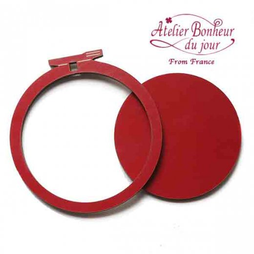 フランス輸入ボタン アトリエ・ボヌール・ドゥ・ジュール【 Mサイズ 刺繍枠 丸枠 レッド】【画像3】