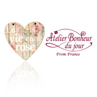 フランス輸入ボタン アトリエ・ボヌール・ドゥ・ジュール【ハート文字 la vie en rose】