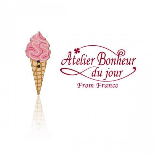 フランス輸入ボタン アトリエ・ボヌール・ドゥ・ジュール【ソフトクリーム ベリー】