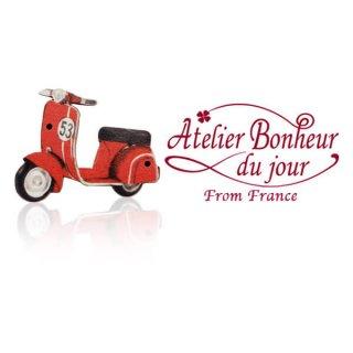 輸入 木製ボタン 花 車 その他  フランス輸入ボタン アトリエ・ボヌール・ドゥ・ジュール【スクーター ベスパ】