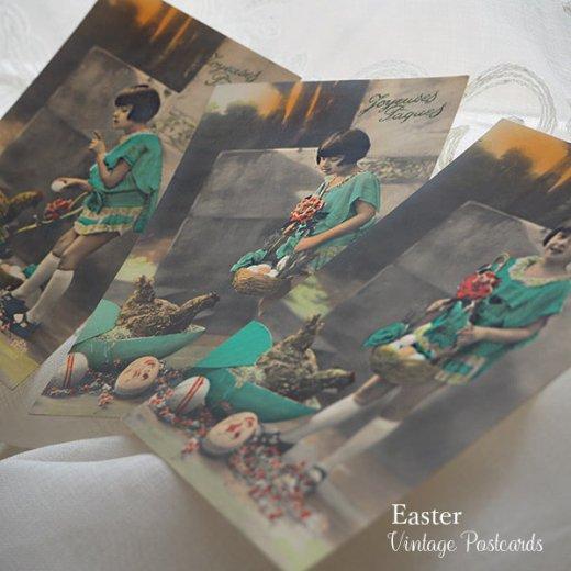 フランス ヴィンテージ 3枚組 色彩写真 イースター(復活祭)ポストカード【画像2】