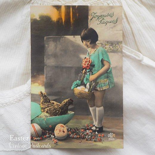 フランス ヴィンテージ 3枚組 色彩写真 イースター(復活祭)ポストカード【画像5】