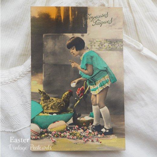 フランス ヴィンテージ 3枚組 色彩写真 イースター(復活祭)ポストカード【画像6】