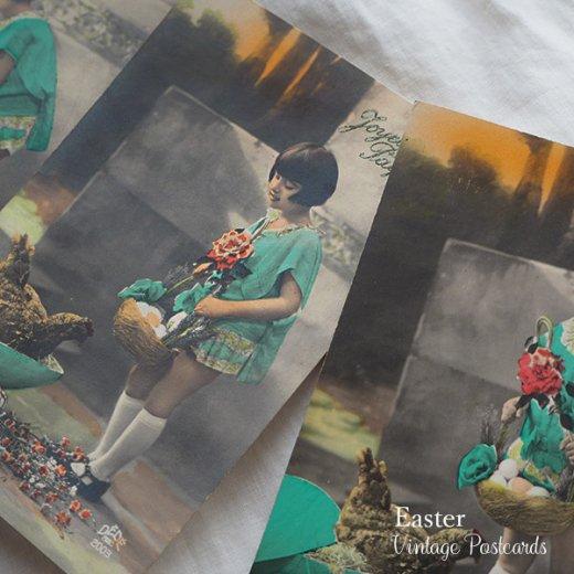 フランス ヴィンテージ 3枚組 色彩写真 イースター(復活祭)ポストカード【画像7】