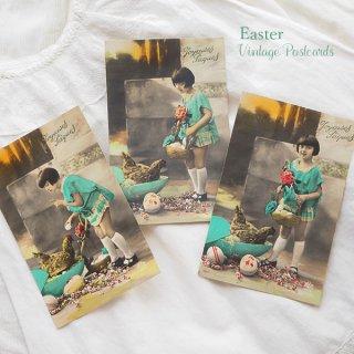 ガーリー & 乙女 アンティーク ヴィンテージ フランス ヴィンテージ 3枚組 色彩写真 イースター(復活祭)ポストカード