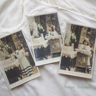 ガーリー & 乙女 アンティーク ヴィンテージ フランス 1900年初頭 アンティーク 3枚組 色彩写真 教会 マリア様 ポストカード