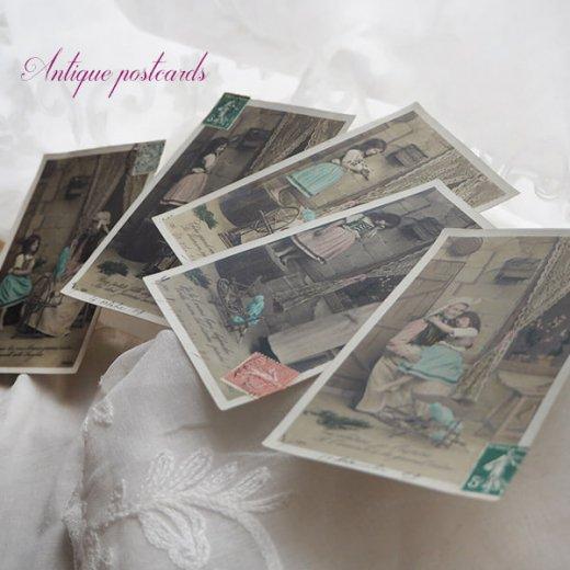 フランス 1900年初頭 アンティーク 5枚組 色彩写真  ポストカード【画像10】