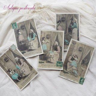ガーリー & 乙女 アンティーク ヴィンテージ フランス 1900年初頭 アンティーク 5枚組 色彩写真  ポストカード