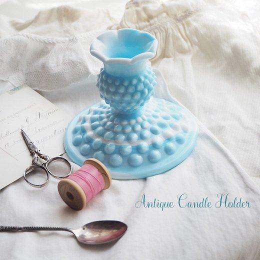 USA アンティーク フェントン ミルクグラス  ブルー&ホワイトマーブル ホブネイル キャンドルホルダー